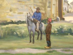 Jean-Frédéric Bazille, Porte de la Reine à Aigues-Mortes, 1867. Etonnant, en plein New York, de croiser nos petits chevaux camargues ! Ceux-ci sont parfaitement représentés sur ce tableau, un jeune cheval encore grisonnant monté par un gardian, et un autre cheval bien clair, avec la couleur des crins tirant un peu vers le jaune, typique...