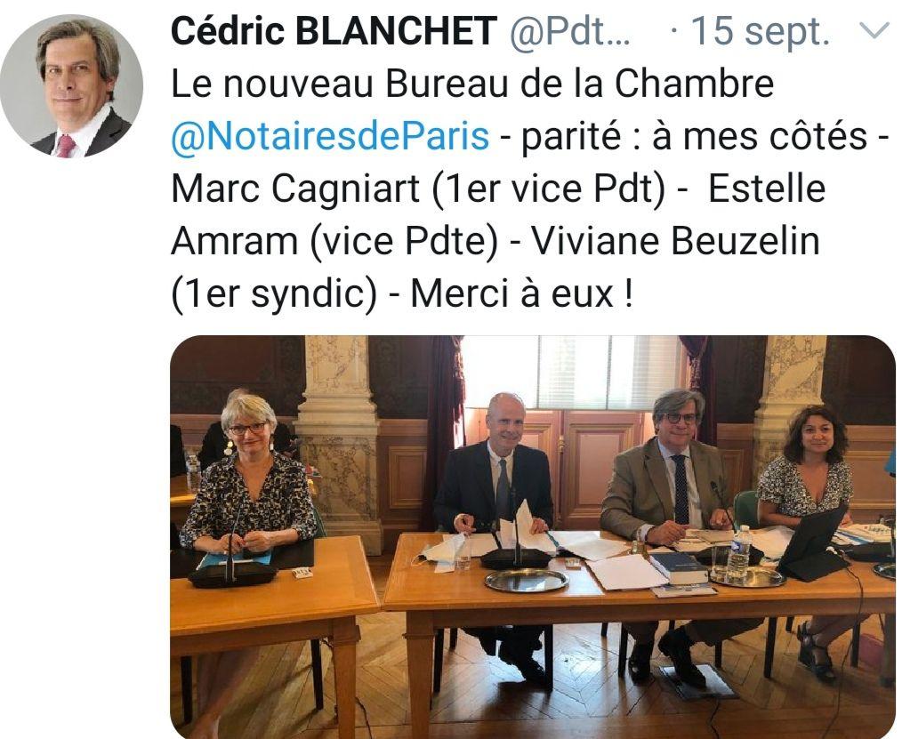 LA PARITÉ AU BUREAU DE LA CHAMBRE DES NOTAIRES DE PARIS : le compte y est ... mais les femmes sont reléguées aux 3e et 4e rangs