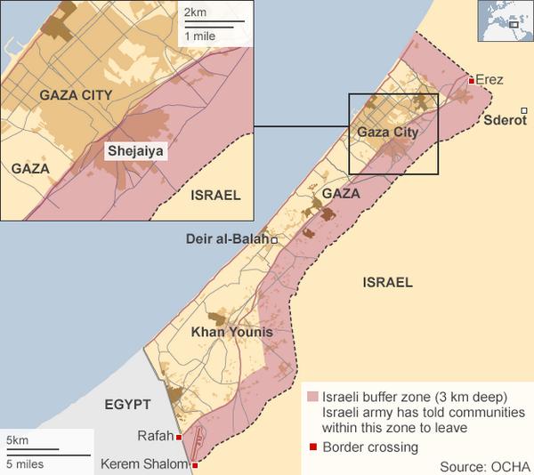Cette carte montre la zone qu'Israël a saisit, avec l'aimable autorisation du Bureau des Nations Unies pour la coordination des affaires humanitaires