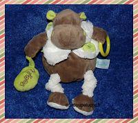 Doudou hippopotame Baby nat, marron vert blanc, pouet, velours, www.doudoupeluche.fr