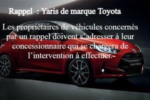 RAPPEL Toyota Aygo et Yaris
