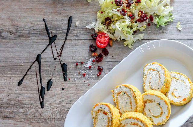 Roulés aux carottes & fromage frais
