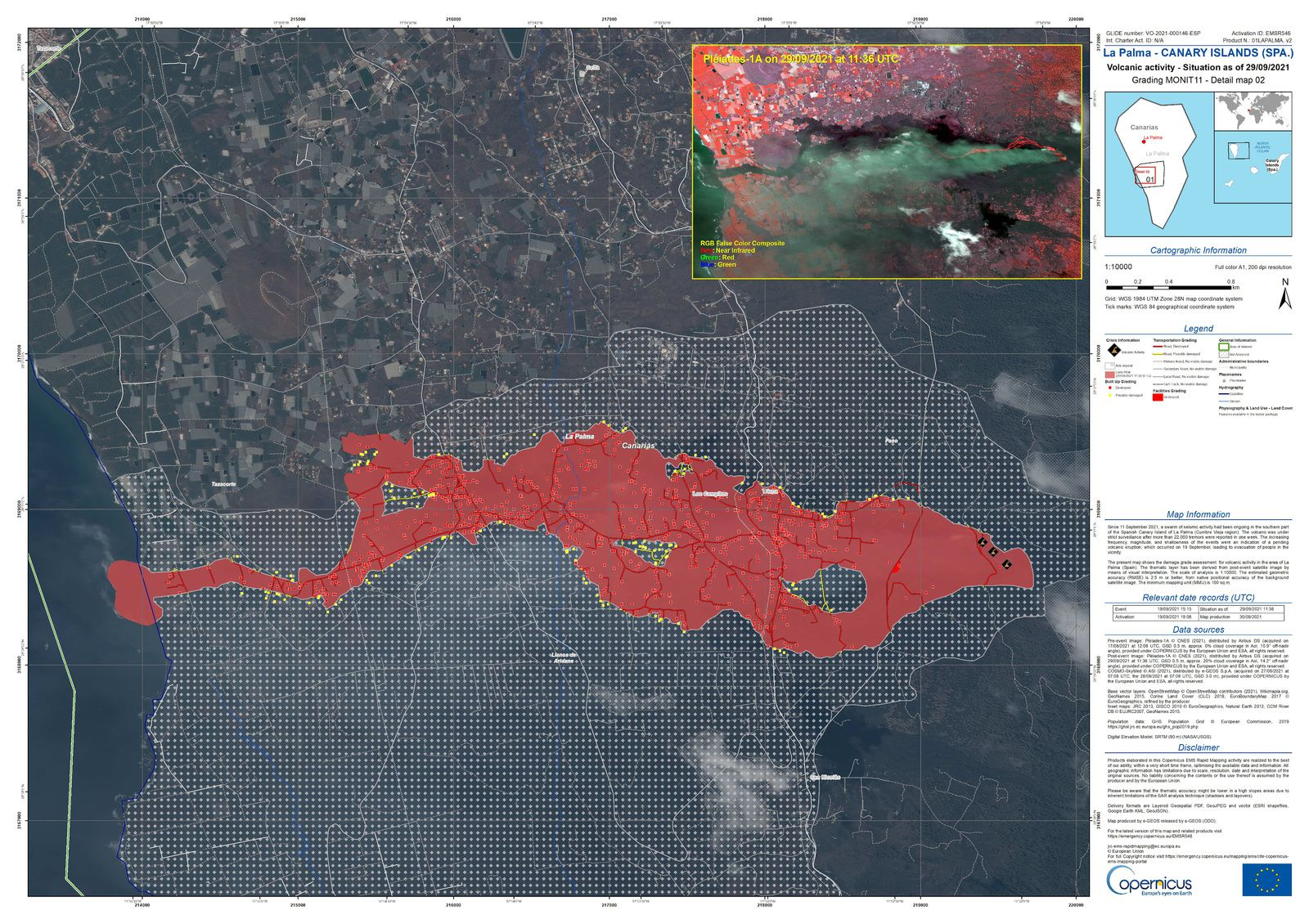 Les Canaries - Canary - La Palma - Volcan - Cumbre Vieja - Lave - EMS - emergency mapping - Copernicus - Volcano