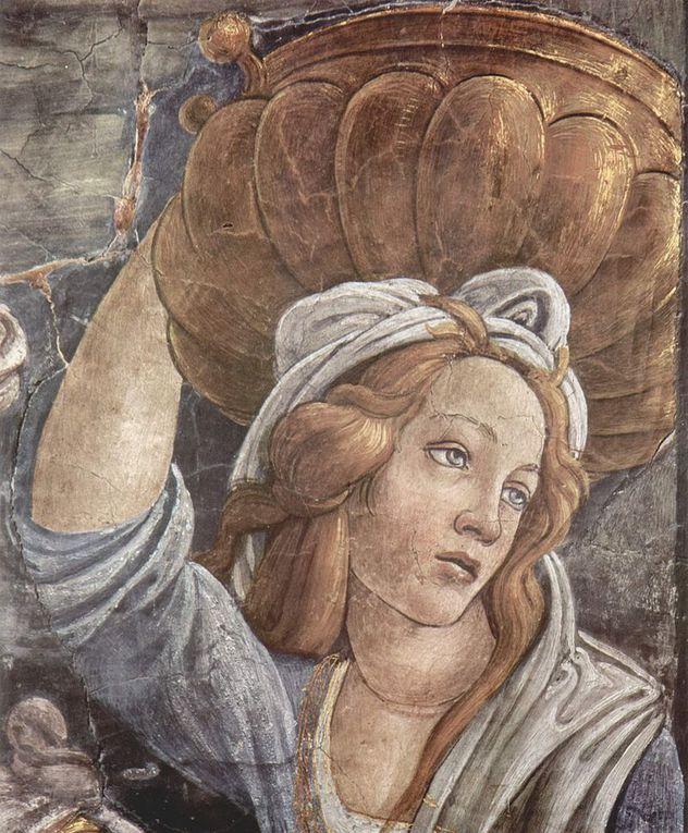 Botticelli, Les Epreuves de Moïse, La Tentation du Christ, La Punition des rebelles. Fresques Chapelle Sixtine, Rome.