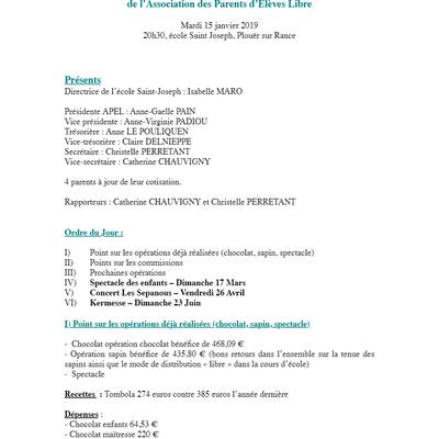 COMPTE  RENDU REUNION DU 15/01/19