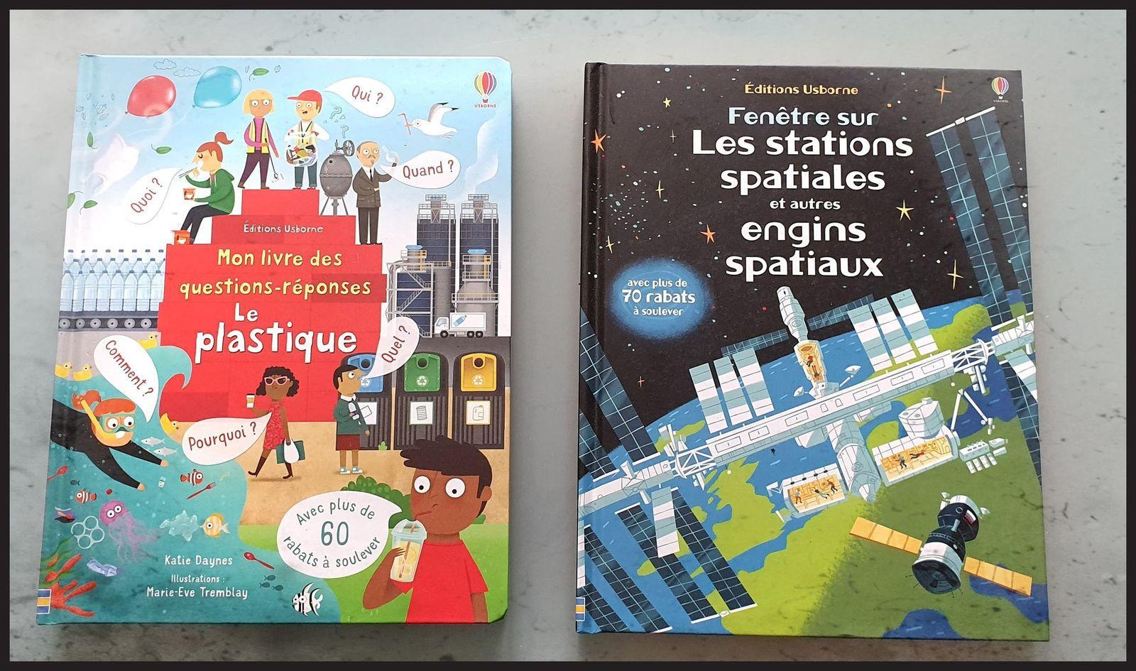 Les livres à rabats des Editions Usborne : Le plastique et les stations spatiales et autres engins spatiaux