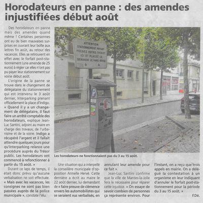 Le Courrier de Mantes. Horodateurs en panne: des amendes injustifiées début août.