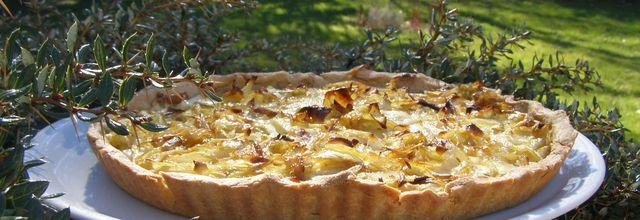 Tarte aux oignons/fromage à raclette. Farines amarante et orge mondé. Indice glycémique bas (PL)
