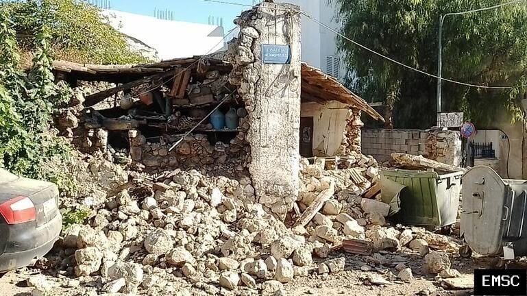 Crete island - 09.27.2021 - extensive material damage in this area to old buildings - photo via EMSC
