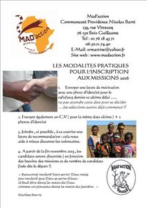 MODALITES D'INSCRIPTION aux MISSIONS MAD 2016