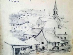"""Saint-Vincent-les-Forts (Alpes de Haute Provences) où mon père était mobilisé en 39-40 -une esquisse  de mon père  - """"C'est le destin"""" chanson de marche, Paroles et musique écrites parmion père au cours de cette période."""