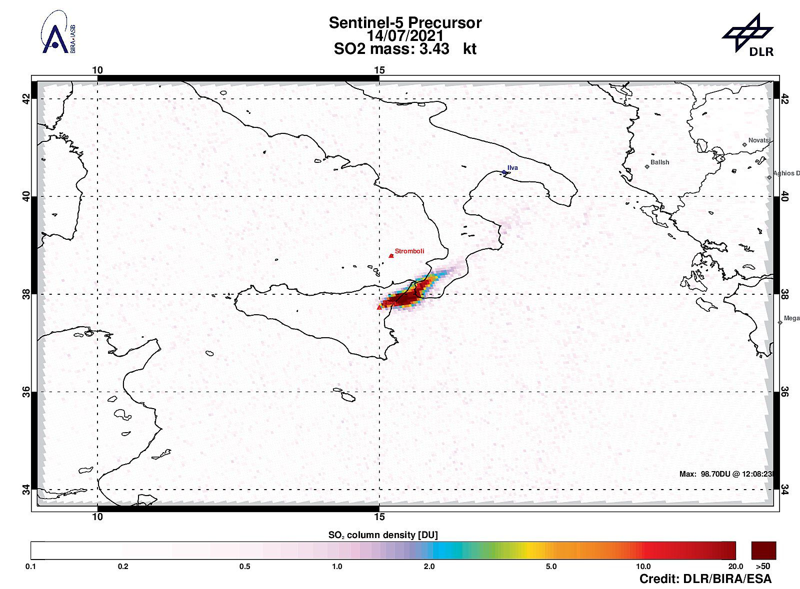 Etna - strong SO2 signal between Etna and Calabria with 98.70DU of SO2. - Sentinel-5P Tropomi from 07.14.2021 - also notice the Stromboli emission