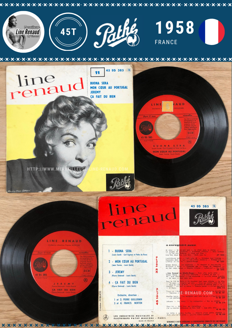 45 TOURS: 1958 Pathé - 45 EG 385 - Line Renaud