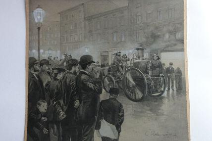 aquarelle et gouache  engin d'incendie à vapeur sapeurs pompiers allemands 1894,C Wedenmeyer