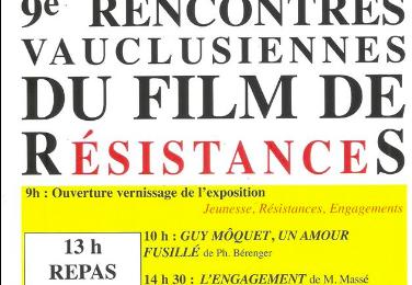9èmes Rencontres vauclusiennes du film de RésistanceS, le 29 février à Sarrians,
