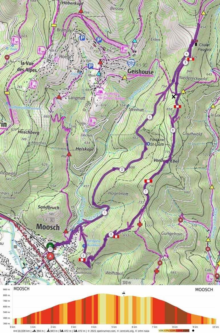 MOOSCH : LA VUE DE GEISHOUSE (R 437) - 10,0 km - D+ 472 m - 3 h - 3/6