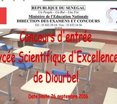 Concours d'entrée en classe de seconde au lycée scientifique d'Excellence de Diourbel