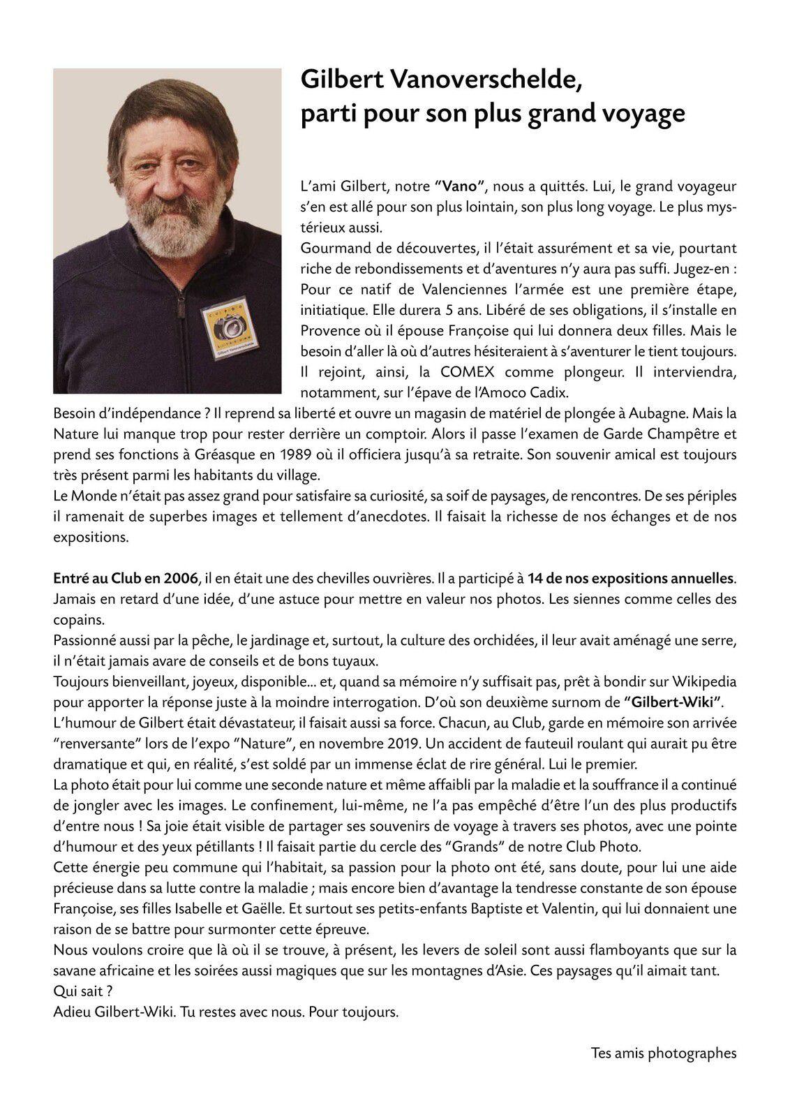 Expo photo Hommage à Gilbert Vanoversheld