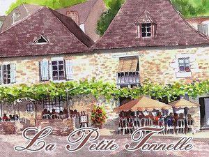 """Beynac et Cazenac, village de Dordogne et sa sublime enseigne """"la petite tonnelle"""""""