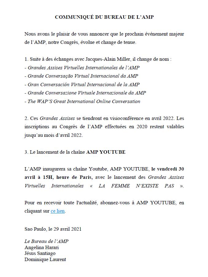 AMP - Grandes assises virtuelles internationales - Du 31 Mars au 3 avril 2022