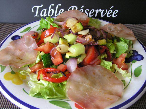 salade de légumes cuits et crus au bacon