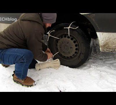 Comment sortir une voiture qui patine et se retrouve bloquée dans la neige avec une corde ?
