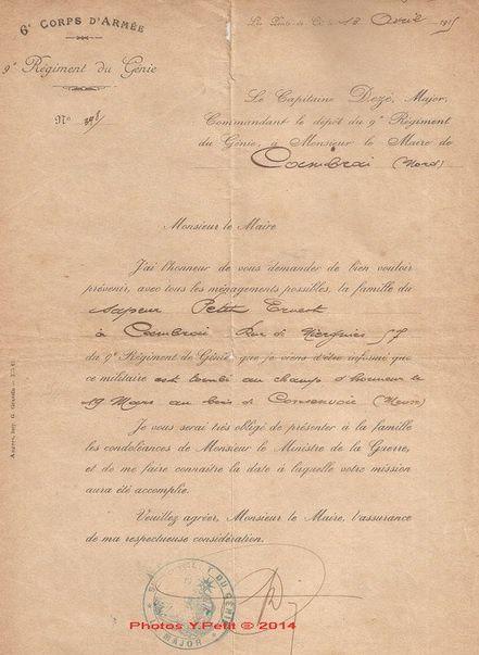 Quelques documents concernant Ernest Petit  Ancien du 9ème RG mort au Bois de Consenvoye