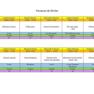 PROGRAMMES VACANCES DE FEVRIER - LOCAL ADOS