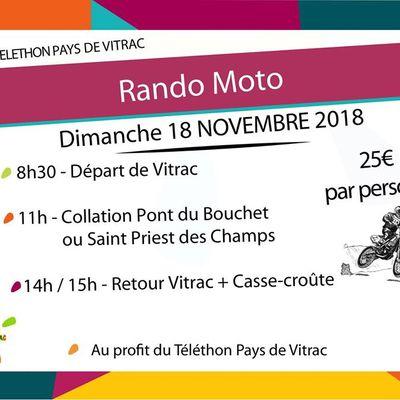 Rando moto Téléthon Pays de Vitrac (63), le dimanche 18 novembre 2018