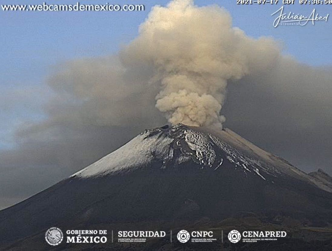 Popocatépetl - continuous emission of gas and ashes, ... on 07/17/2021 / 07:08 a.m. - Mexico City webcams