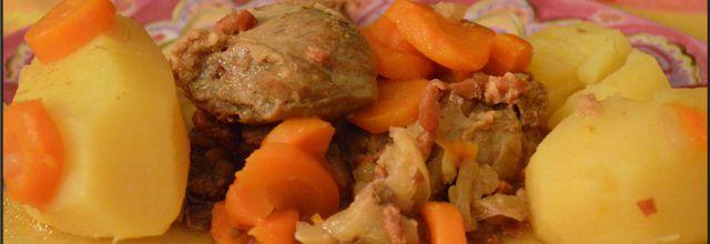 Joue de porc au miel et ses légumes