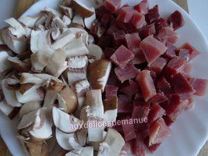 Raviolis aux champignons et Serrano, gratinés à la crème épaisse et mozzarella