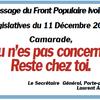 CI/LÉGISLATIVES 2011: MESSAGE DU FPI A TOUS LES RÉSISTANTS ET MILITANTS!