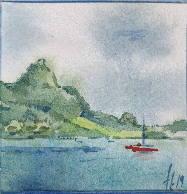 Paisible Baie de Cook ,  cocoteraie et vues de Maharepa - Clin d'oeil à mon petit cousin Havaiki sur son Paddle , passe de Taapuna , Tahiti,  devant Moorea