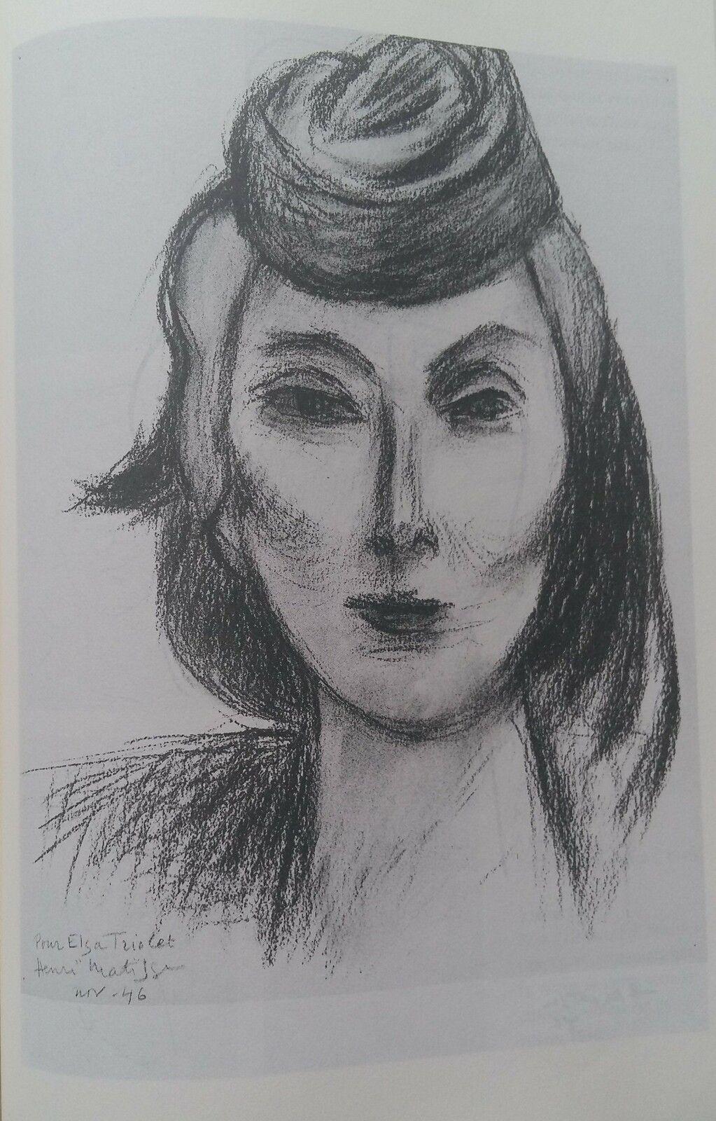 """""""Elsa Triolet"""" fusain n°1, 1946"""