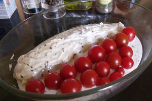 Dos de cabillaud et tomates cerises au boursin
