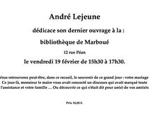 Dédicace vendredi 19 février à la bibliothèque de Marboué
