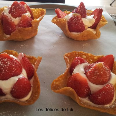Tuiles fraises - chantilly