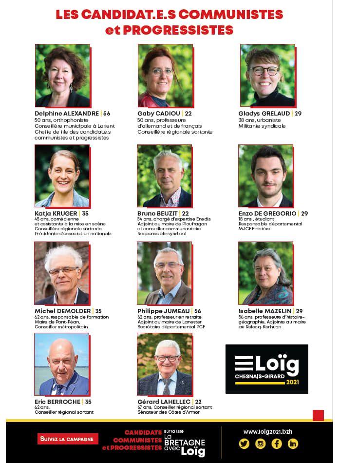 Les candidats communistes sur la liste de Loïg Chesnais-Girard: document de campagne et de propositions - Régionales 20 et 27 juin 2021 en Bretagne