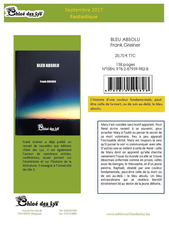 Fiches de diffusion des nouveaux ouvrages parus aux Editions Chloé des Lys