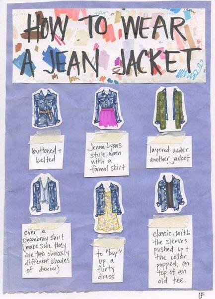 How to wear a jean jacket/Comment porter une chemise en jean.♥