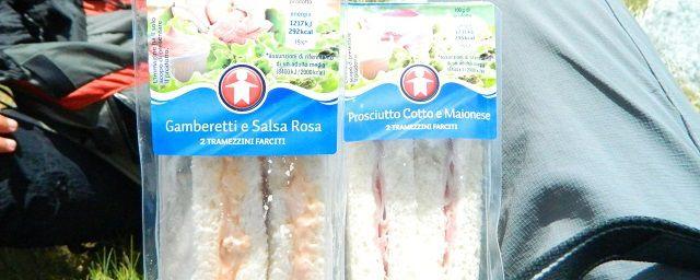 """Pic-Nic in montagna? Comodi i tramezzini del supermercato Sigma """"Linea Omino""""."""