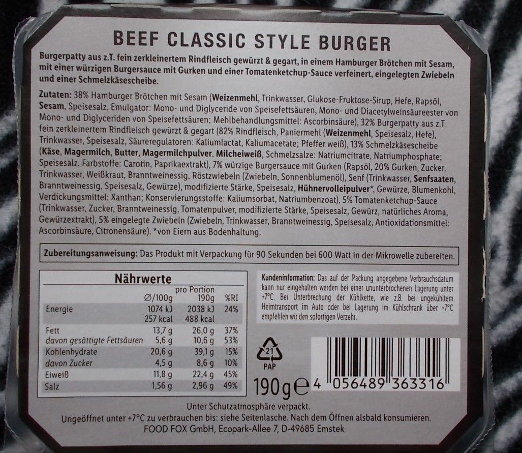 Lidl The Premium Selection Beef Classic Style Burger