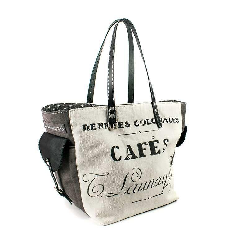"""SAC CABAS """" Café"""" poches sur le coté"""