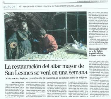 El correo de Burgos se hace eco de la restauración del retablo mayor