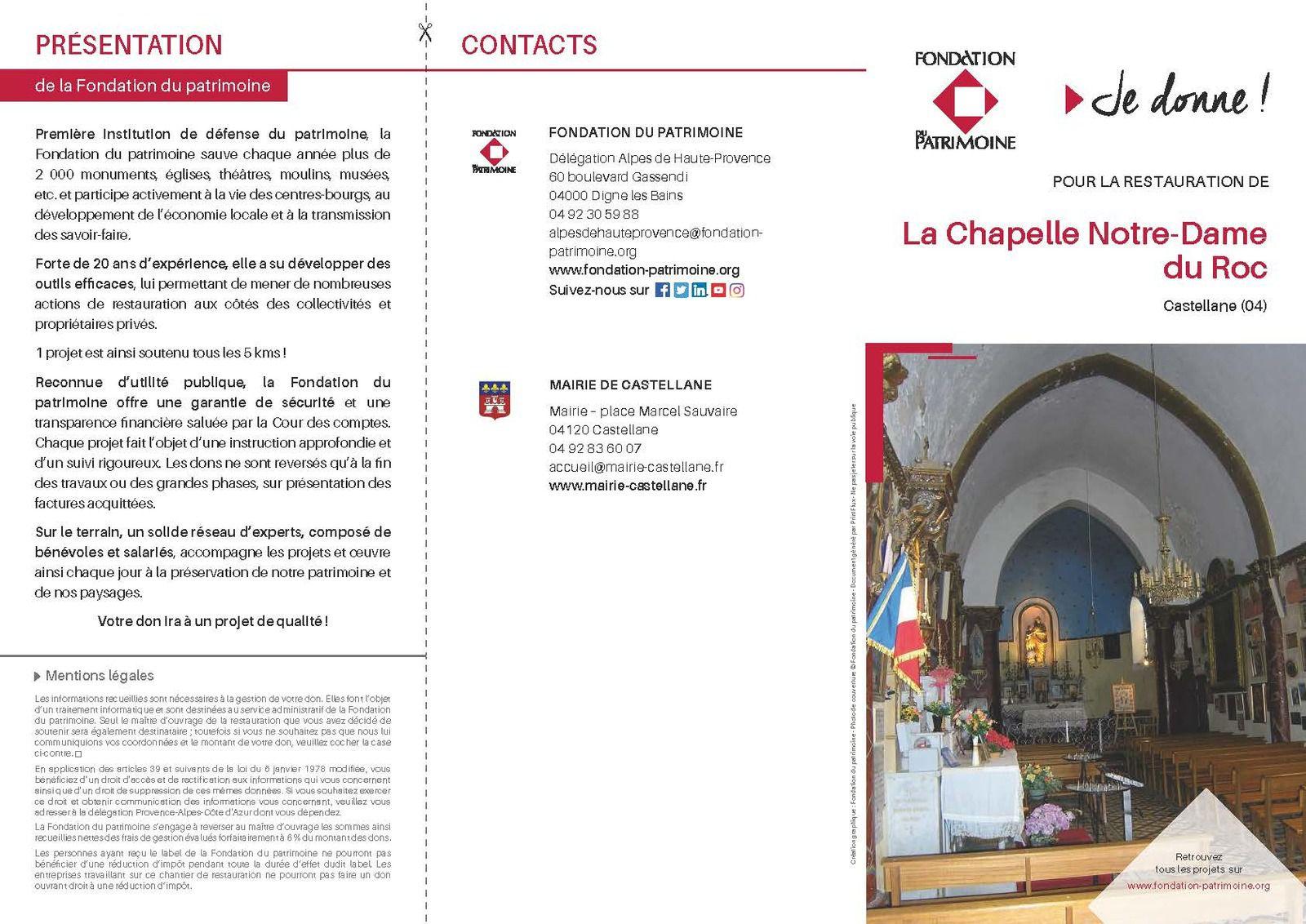 Lancement de la souscription chapelle Notre-Dame du Roc