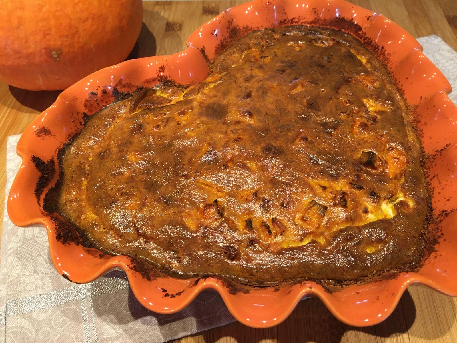 Clafoutis de potimarron, feta et lait de coco au curry