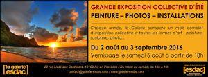 Aix en Provence. Grande exposition collective d'été. Peintures - Photos - Installations. Du 2 Aout au 03 Septembre 2016.