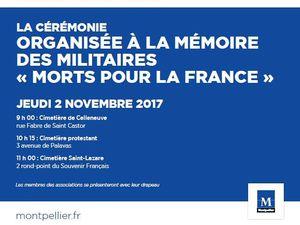 """A LA MEMPOIRE DES MILITAIRES """"MORTS POUR LA FRANCE"""" JEUDI 2 NOVEMBRE 2017 MONTPELLIER"""