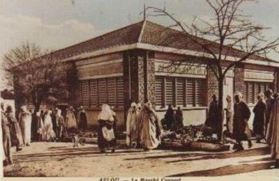 سوق الخضر والفواكه اثناء الاستعمار الفرنسي بأفلو